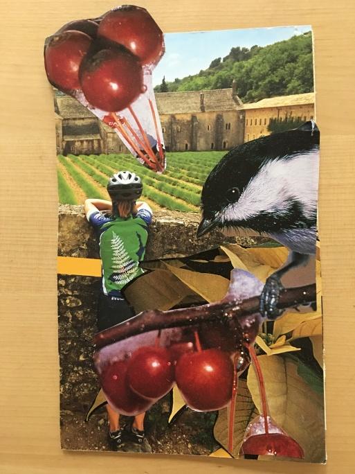 collage bike and cherries